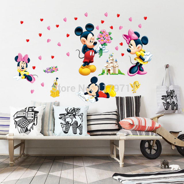 mickey mouse minnie mouse wall sticker home decor mur de dessin mickey friends mickey mouse clubhouse capers wall stickers