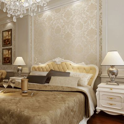 10mx53cm Vintage Roll Beige White Blue Gold Wall Paper Non-woven Floral Damask Wallpaper Living ...