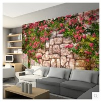 Tree leaf Flowers and plants stone wall mural wallpaper ...