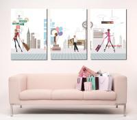 3 piece canvas art Ladies abstract art Modern wall decor
