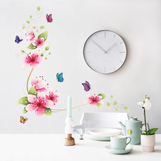 design small sakura flower wall stickers bedroom room pvc decal pink flower wall stickers living room bedroom wall art decals