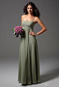 2015 New Bridesmaid Dress Strapless Sage Green Chiffon ...