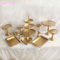 Set of 12 pieces gold cake stand wedding cupcake stand set ...