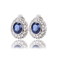 Faceted Crystal Clip Earrings no hole without piercing ...