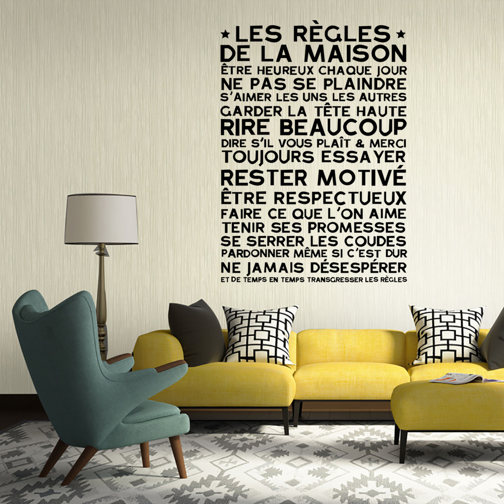 detailed picture funlife art design house rules wall sticker funlife pc direction vinyl young bedroom art mural wall