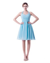 Light Sky Blue Short Bridesmaid Dresses Halter Plus Size ...