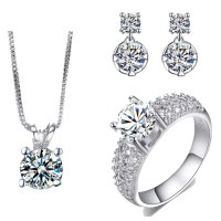 AAA Cubic Zirconia Necklace And Earring Set White Gold ...