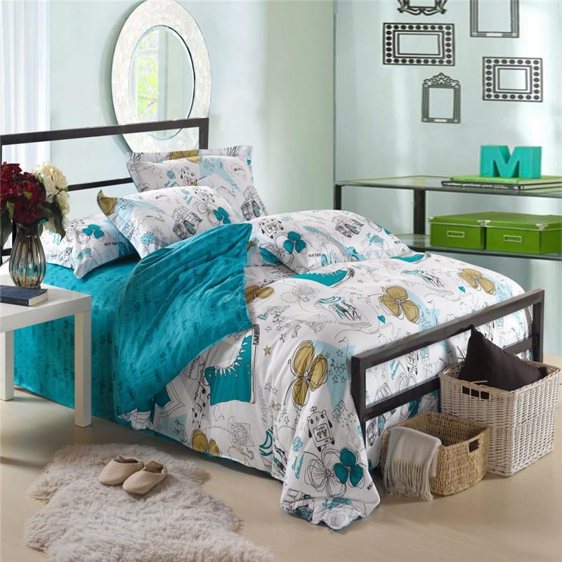 Full Size 4pcs Bedding Sets Bedclothes Bed Linen 100%