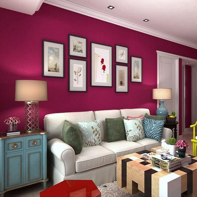 Red Wallpapers Solid Color Embossed PVC Wall Paper Roll Modern Living Room Wall Paper Vinyl ...