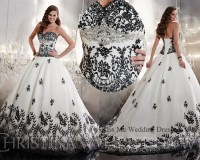 Embellished White and Black Wedding Dress 2015 Princess ...