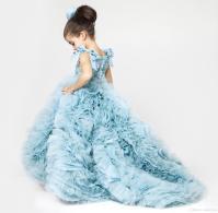 Cute Little Girl Dress Blue Ruffles Puffy Dresses Kids ...