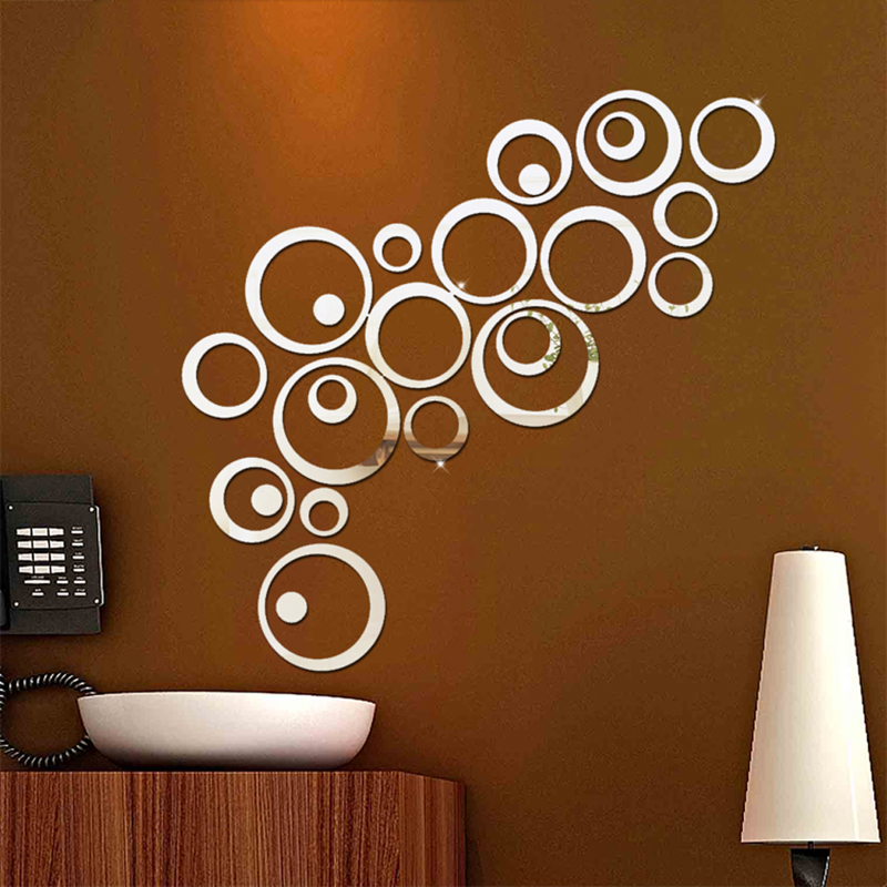 wall sticker circles mirror style removable decal vinyl art mural wall bubble dot circles wall decal pack