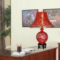 Modern fashion jingdezhen ceramic red table lamp marriage ...
