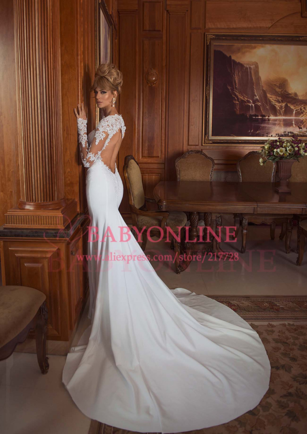 natural wedding dresses backless wedding dresses Fabulous Sheath Column Straps Natural Train Lace Ivory Champagne Sleeveless Backless Wedding Dress with