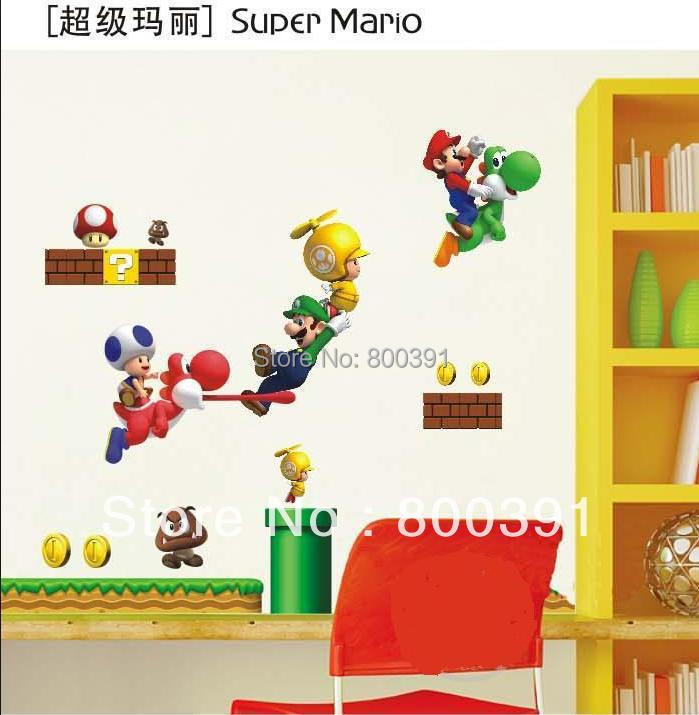 shipping super mario bros brothers cartoon pvc removable wall sticker mario brothers wall decals super mario brothers wii wall decals