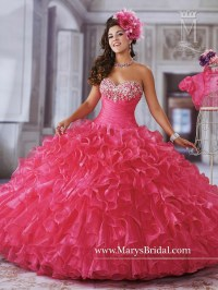 Fashion Hot Pink Quinceanera Dresses 2016 Organza With ...