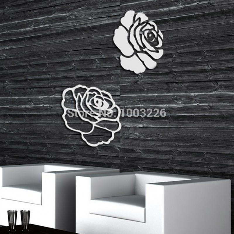 flower tv wall mirror wall stickers diy home decor wall sticker mirror sticker modern wall decor ideas light room design