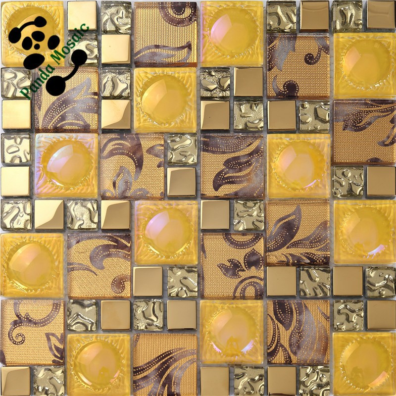 smp kitchen tile backsplash decorative wall stickers gold glass peel stick mosaic tiles kitchen bathroom backsplashes