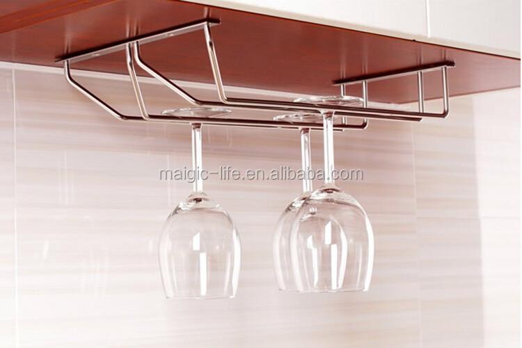 Kitchen Bar Under Cabinet Stemware Chrome Plate Wine Glass