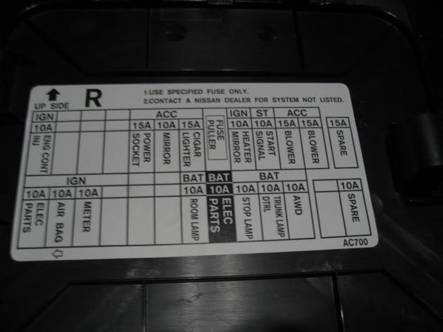 G37 Interior Fuse Box circuit diagram template