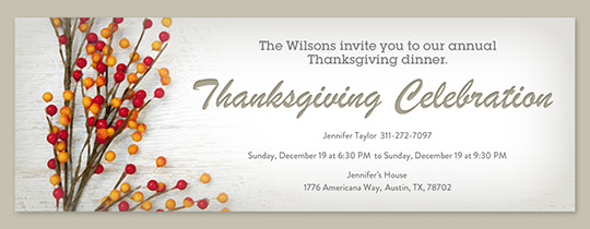 Free Online Thanksgiving Dinner Invitations Evitecom