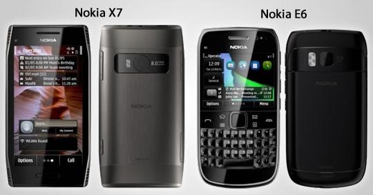 Nokia E6 y Nokia X7