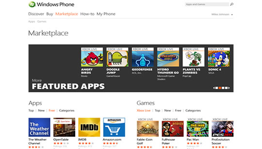 Windows Phone Marketplace Web