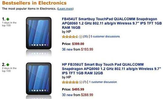 HP TouchPad - Producto electrónico mejor vendido en Amazon