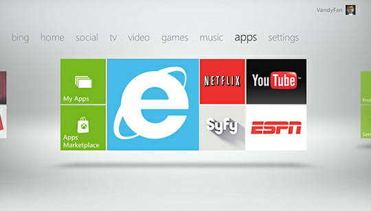 Xbox con Internet Explorer