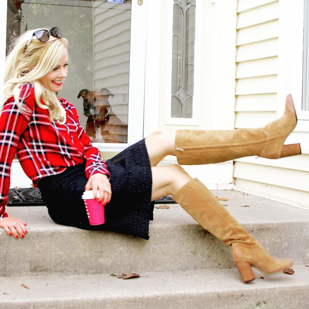 Fall Plaid Shirt Navy Skirt Tall Boots Gabriella Daniel