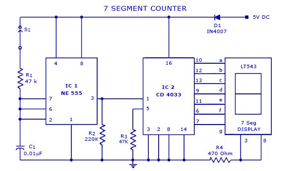 7 Segment Counter display Circuit using IC 555 and CD4033 - Gadgetronicx