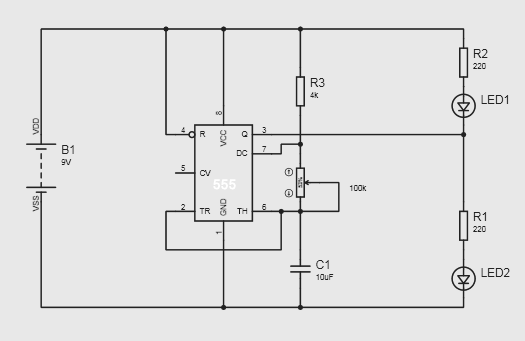 alternate switching led circuit using ic 555 gadgetronicx