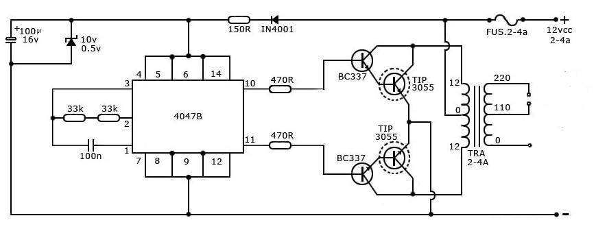 1000 Watts Amplifier Circuit Diagrams 40 Watt Inverter Circuit Using Cd4047 Gadgetronicx