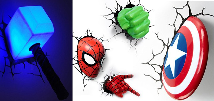 Wand Risse Marvel 3d Deco Lights: Thor, Cpt. America, Hulk