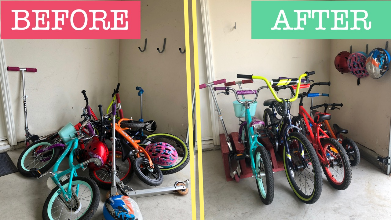 Diy Bike Scooter Rack A Great First Step In Garage Organization Gadgets And Grain