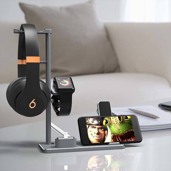 Smart Compatible Dhouea Multi Device Charging Station With Headphone Holder