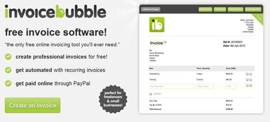 Invoice Bubble- free invoice software for freelancers and small