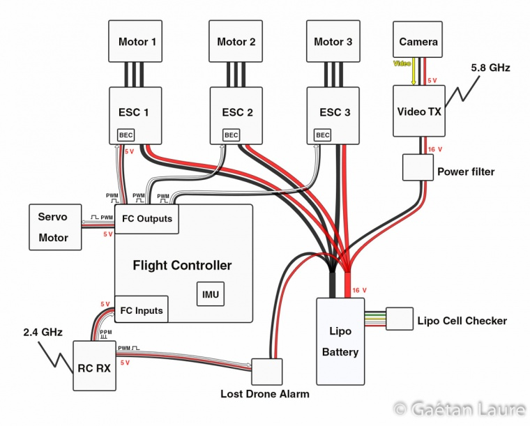 circuit diagram of drone quadcopter