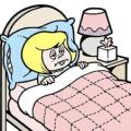 cartoon woman sick in bed