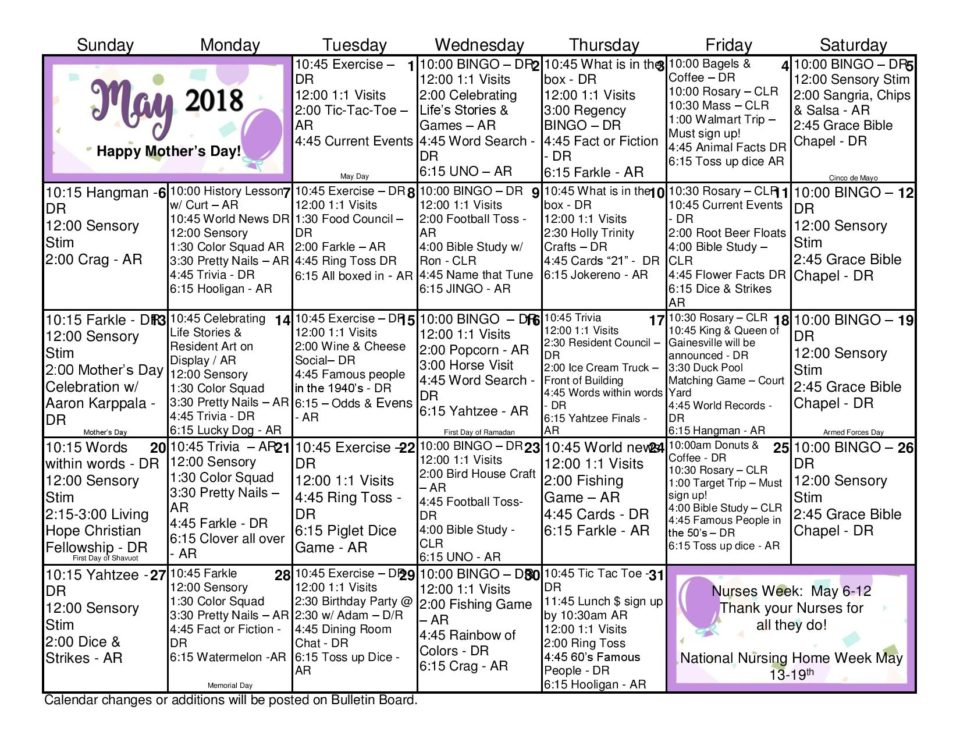Activity Calendar- May 2018 - Gainesville Health and Rehab Center