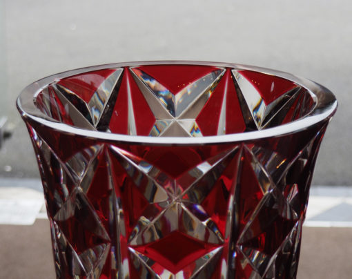 Merci Louis Decoration Superbe Vase Cristal Rouge Saint Louis Deauville 40 Cm