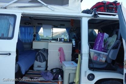 Inside a VW camper.