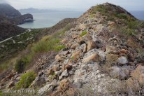 A rocky ridge overlooking Playa Ramada, Punta Pulpito on the horizon.