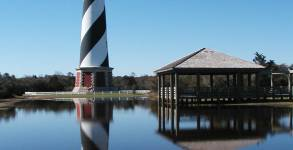 """The iconic Cape Hatteras Lighthouse warns ships off of the shoals called """"the graveyard of the Atlantic"""""""
