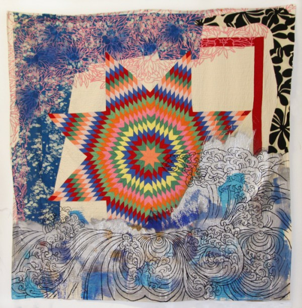 Everyday a Sunset Dies (LKG),' 2014, 78 in x 78 in, Antique quilts, assorted fabrics, fabric treated acrylic, spray paint