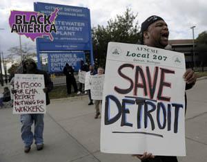 A city worker on strike at Detroit's Wastewater Treatment plan, Sept. 30, 2012. Photo: Diane Bukowski