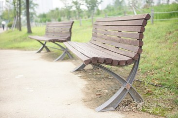 2 peaceful park benches