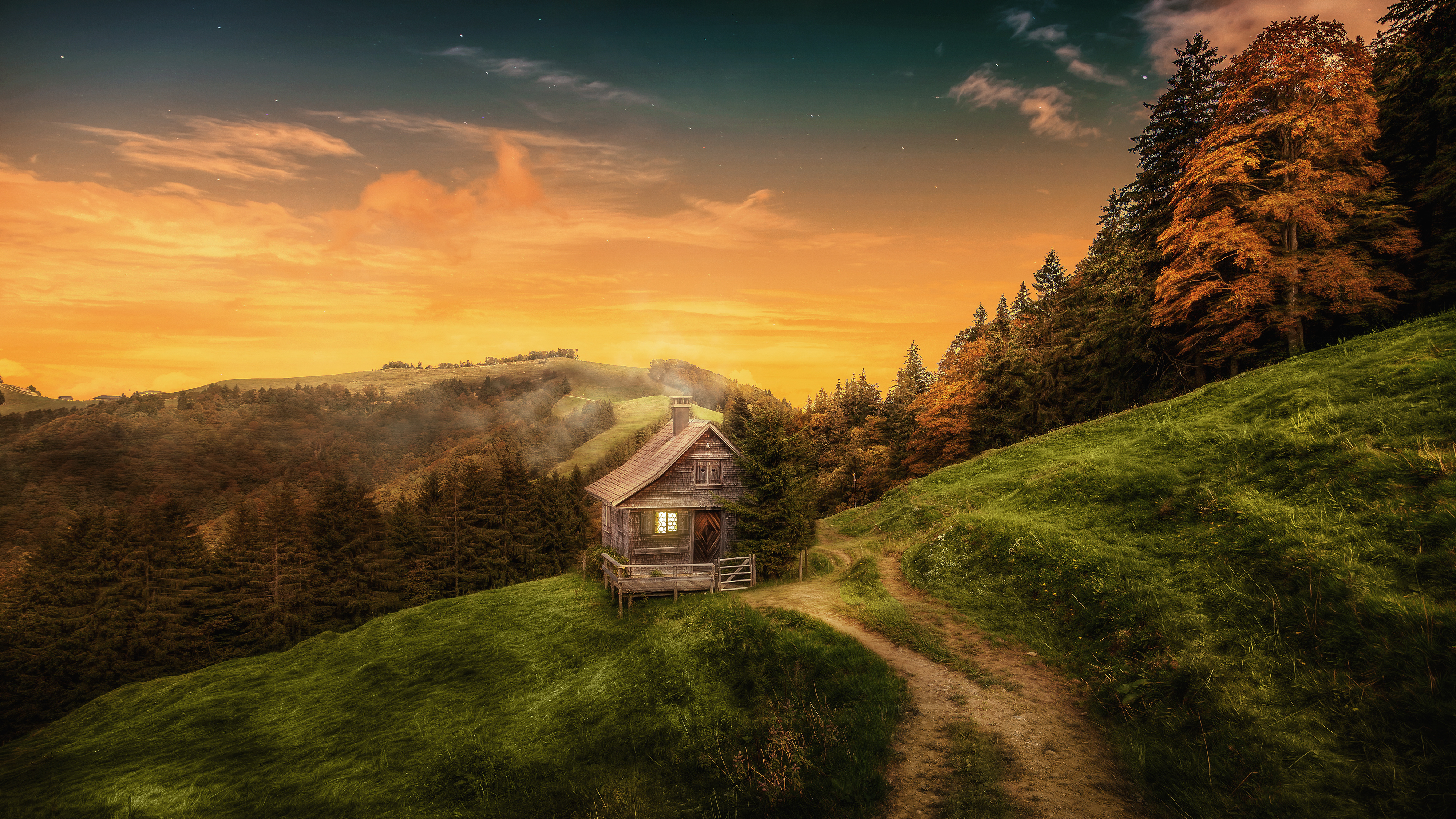 Happy Fall Wallpaper 1366x768 Autumn House Background Gallery Yopriceville High