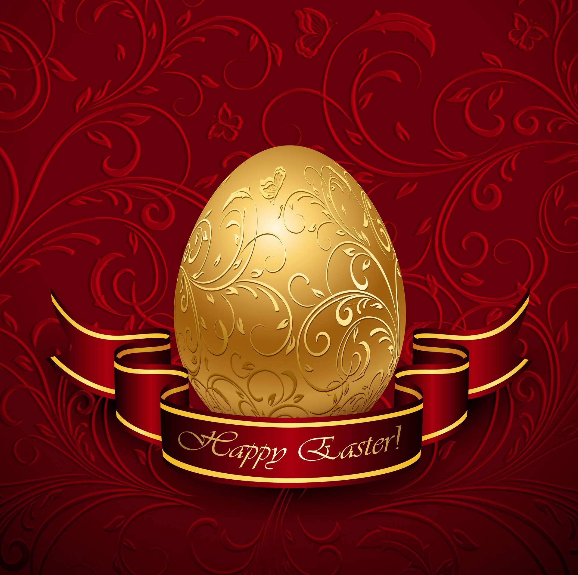 Happy Easter Wallpaper Quotes Happy Easter With Gold Egg Red Background Gallery