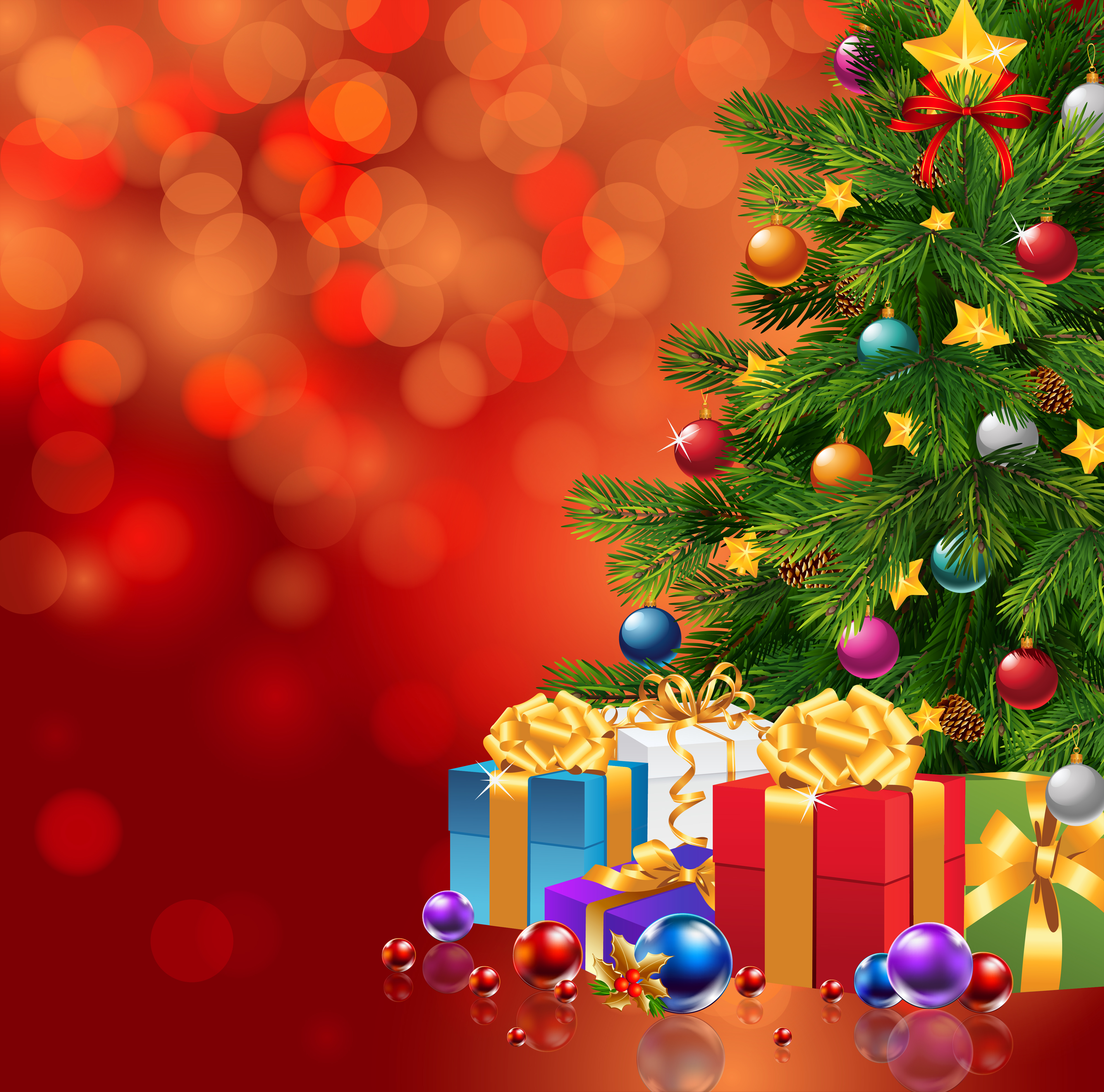 Cute Wallpapers Gold White Red Christmas Background With Xmas Tree And Gifts